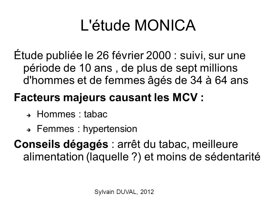 L étude MONICA