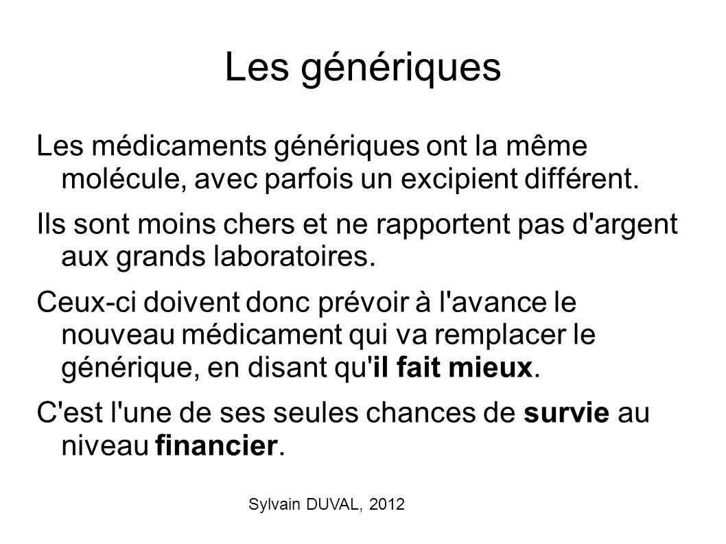 Les génériques Les médicaments génériques ont la même molécule, avec parfois un excipient différent.