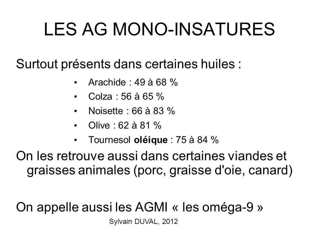 LES AG MONO-INSATURES Surtout présents dans certaines huiles :
