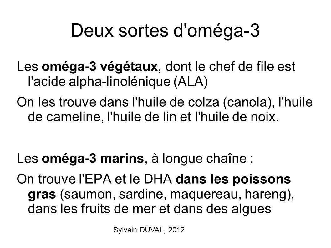Deux sortes d oméga-3 Les oméga-3 végétaux, dont le chef de file est l acide alpha-linolénique (ALA)