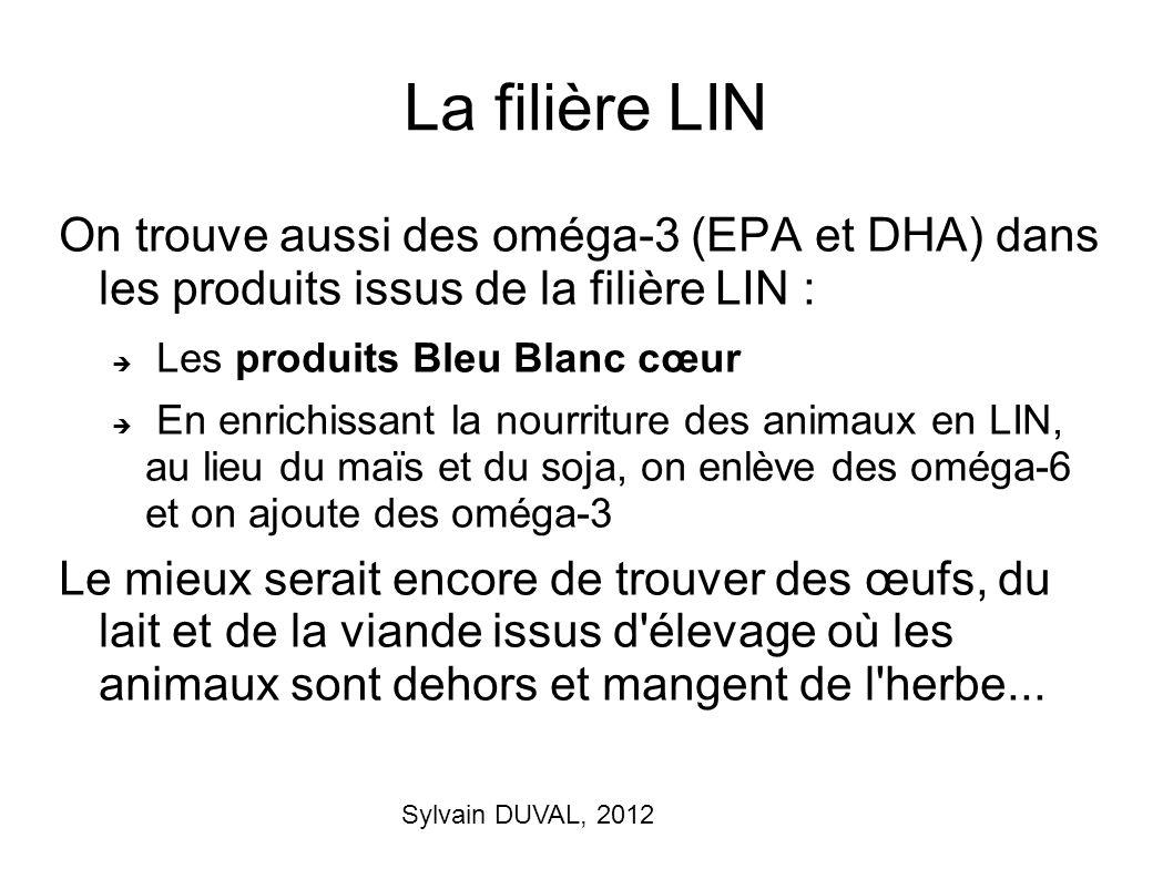 La filière LIN On trouve aussi des oméga-3 (EPA et DHA) dans les produits issus de la filière LIN :