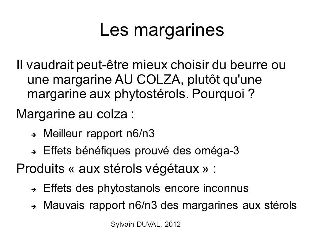 Les margarines Il vaudrait peut-être mieux choisir du beurre ou une margarine AU COLZA, plutôt qu une margarine aux phytostérols. Pourquoi