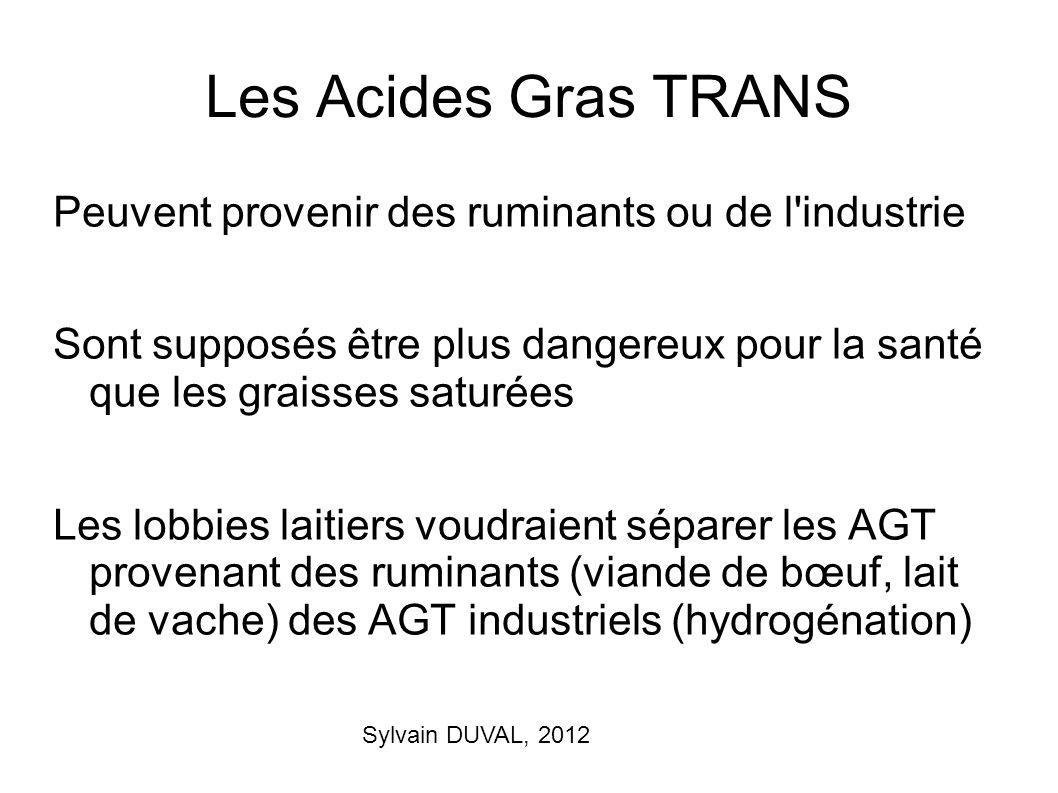 Les Acides Gras TRANS Peuvent provenir des ruminants ou de l industrie