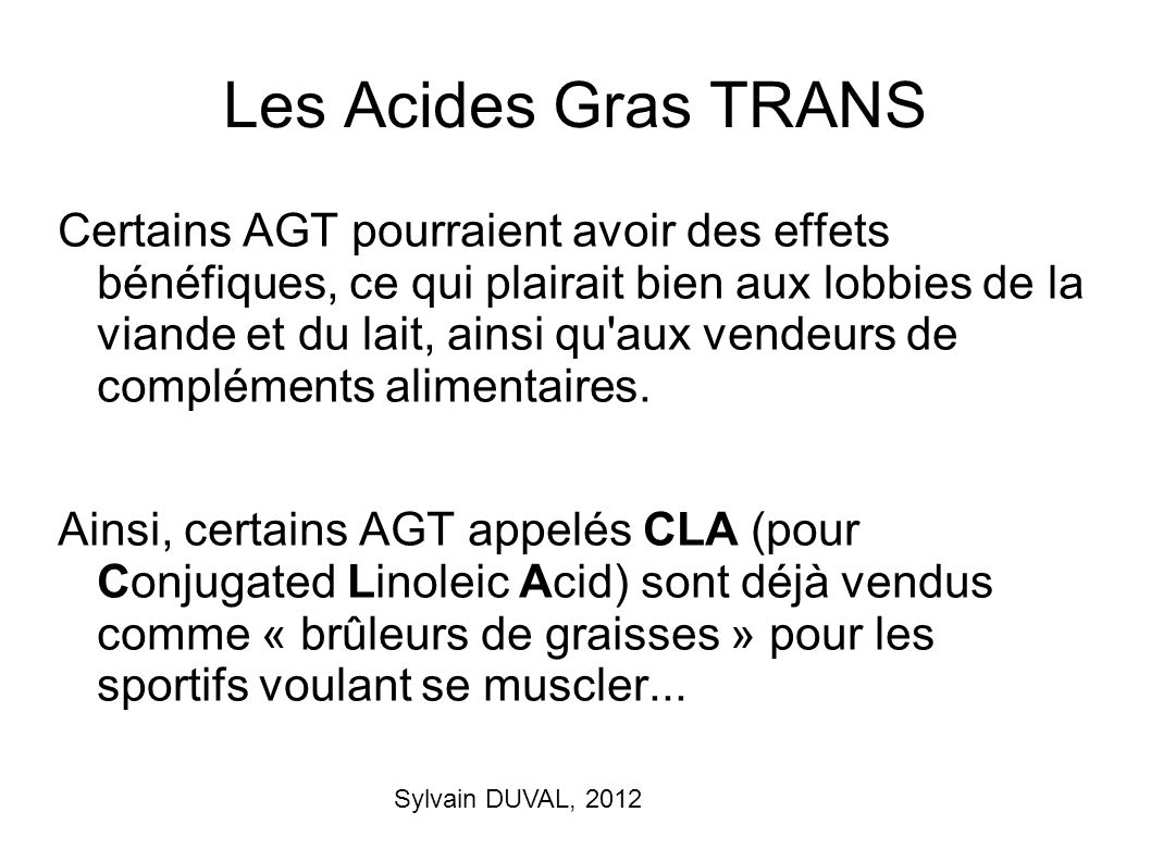 Les Acides Gras TRANS