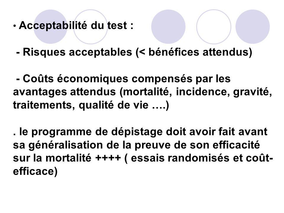 Acceptabilité du test : - Risques acceptables (< bénéfices attendus) - Coûts économiques compensés par les avantages attendus (mortalité, incidence, gravité, traitements, qualité de vie ….) .