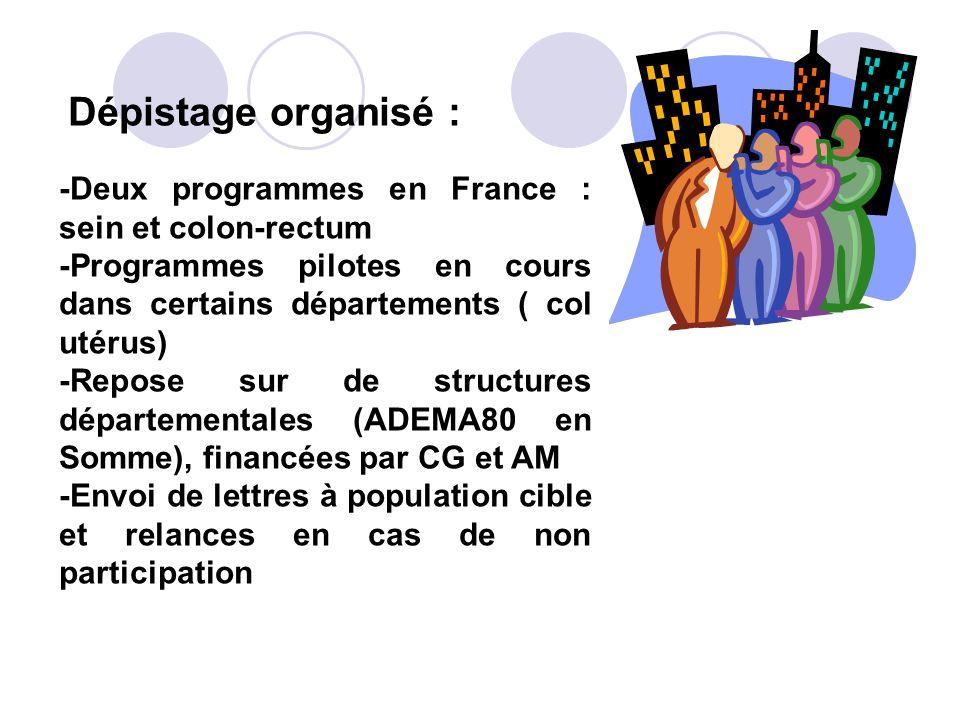 Dépistage organisé : -Deux programmes en France : sein et colon-rectum. -Programmes pilotes en cours dans certains départements ( col utérus)