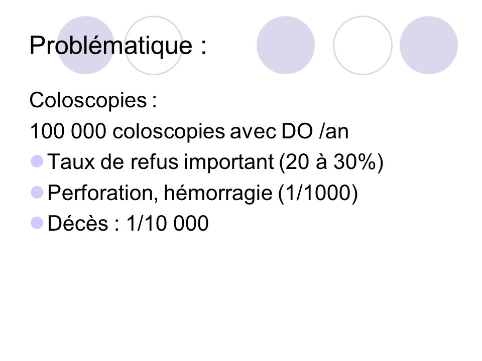 Problématique : Coloscopies : 100 000 coloscopies avec DO /an