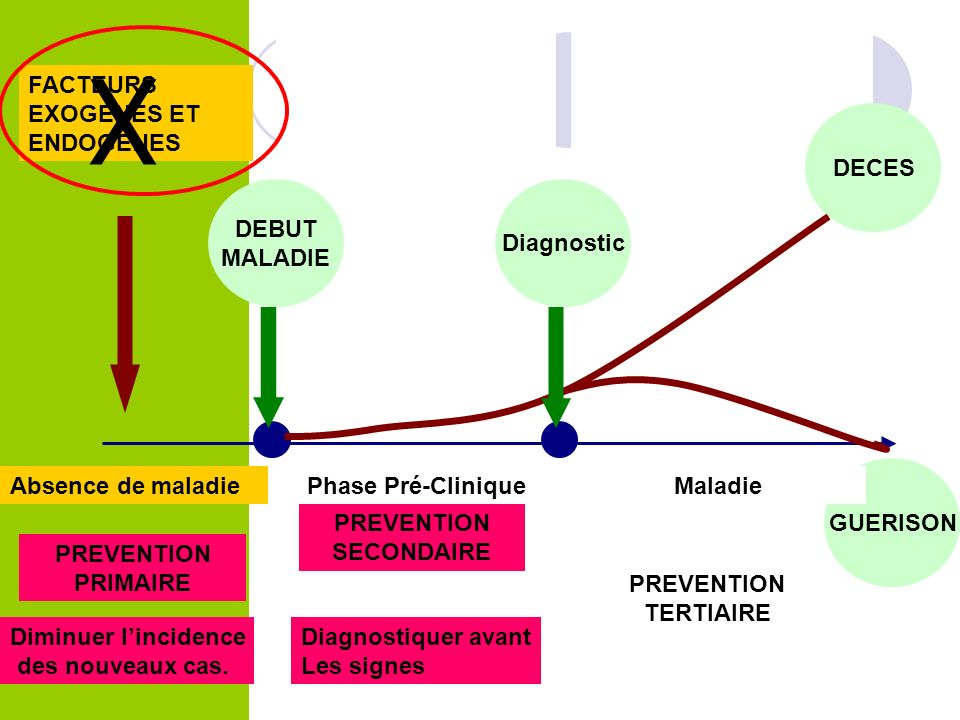 X FACTEURS EXOGENES ET ENDOGENES DECES DEBUT MALADIE Diagnostic