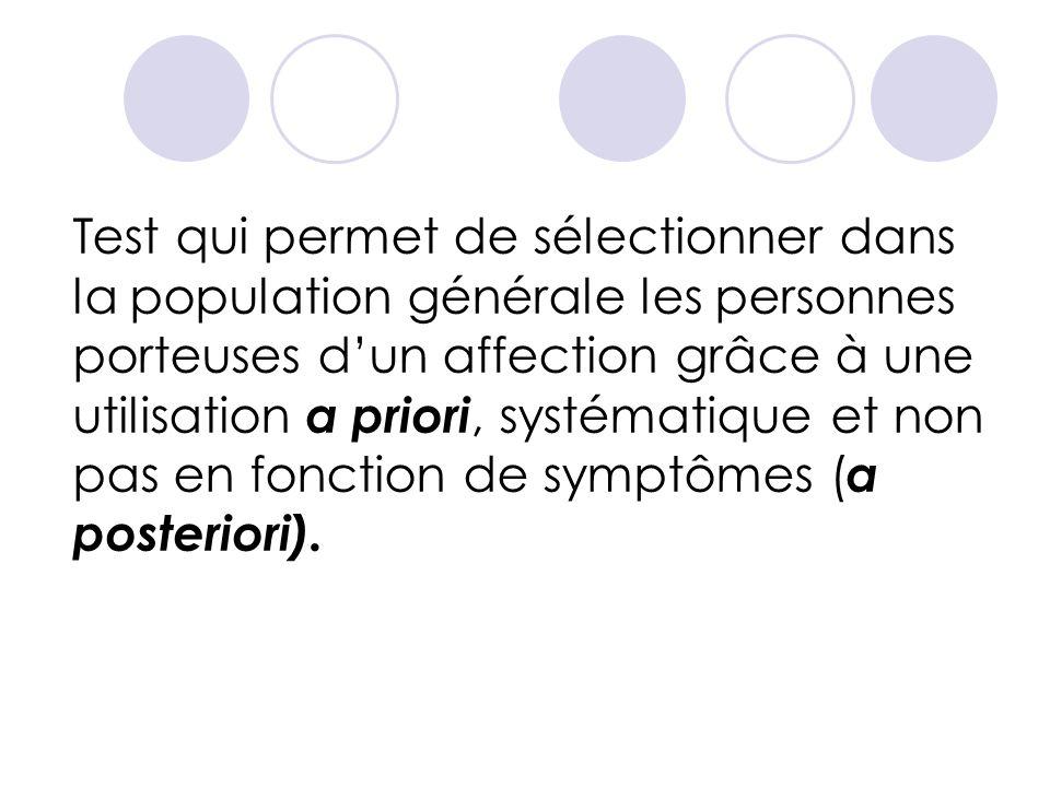 Test qui permet de sélectionner dans la population générale les personnes porteuses d'un affection grâce à une utilisation a priori, systématique et non pas en fonction de symptômes (a posteriori).