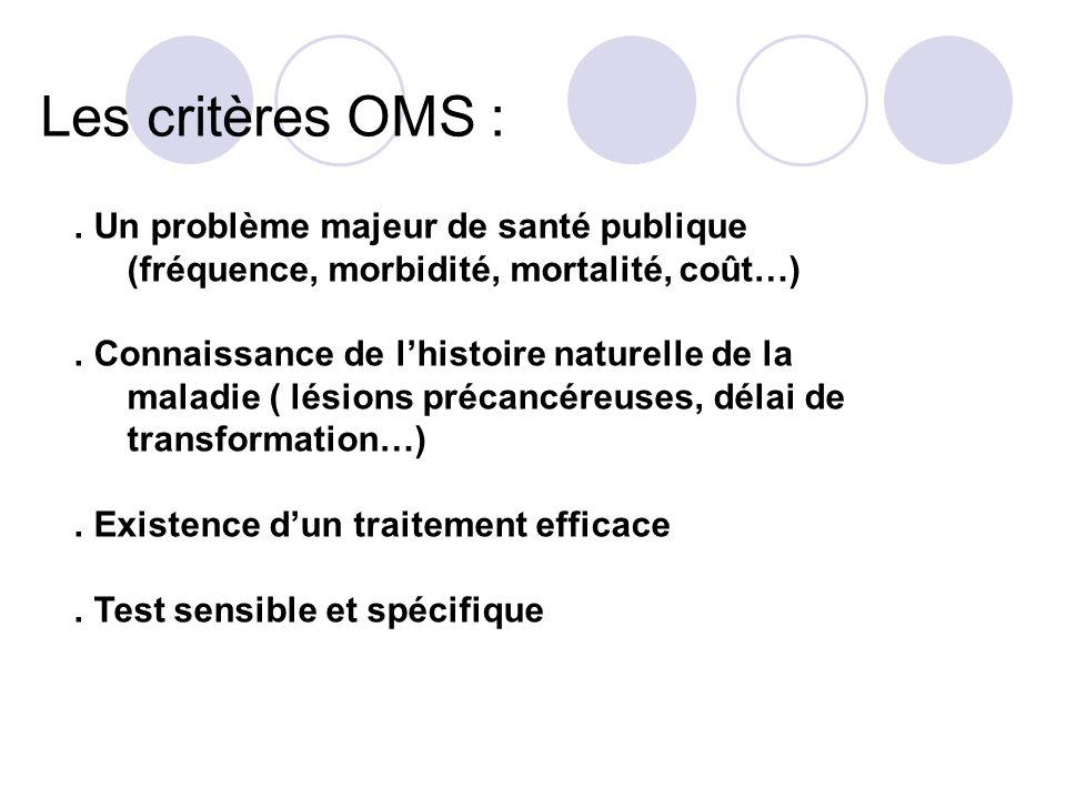 Les critères OMS : . Un problème majeur de santé publique (fréquence, morbidité, mortalité, coût…)