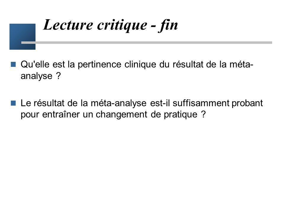 Lecture critique - fin Qu elle est la pertinence clinique du résultat de la méta-analyse