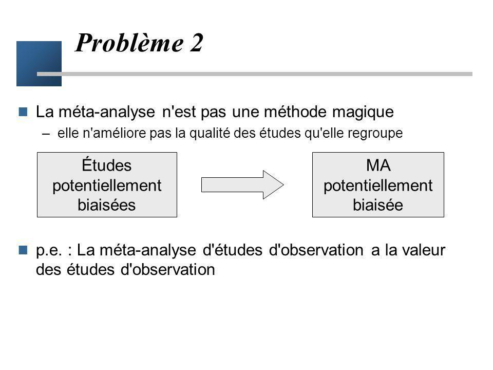 Problème 2 La méta-analyse n est pas une méthode magique