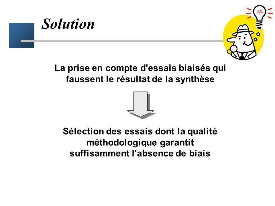 Solution La prise en compte d essais biaisés qui faussent le résultat de la synthèse.