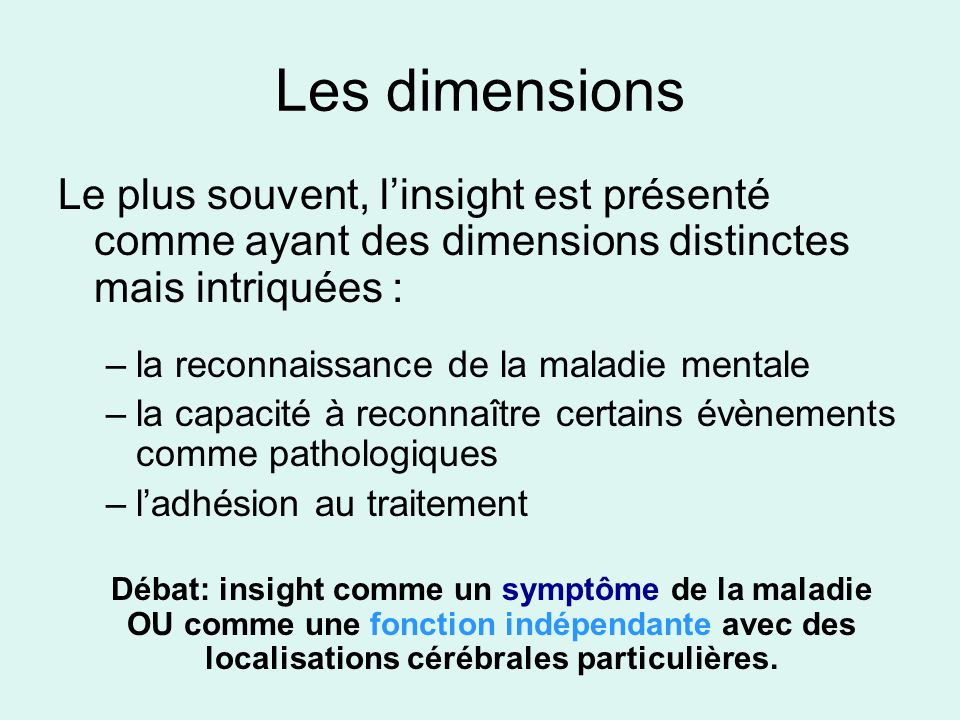 Les dimensions Le plus souvent, l'insight est présenté comme ayant des dimensions distinctes mais intriquées :