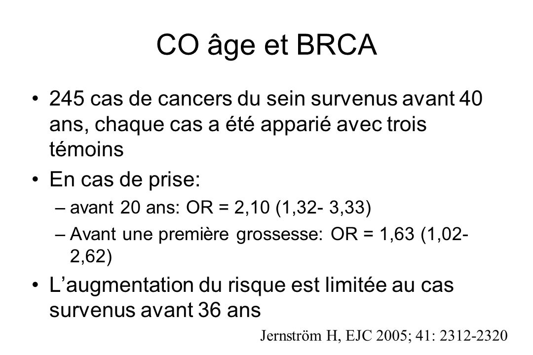 CO âge et BRCA 245 cas de cancers du sein survenus avant 40 ans, chaque cas a été apparié avec trois témoins.