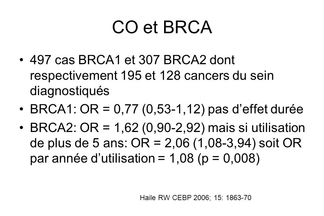 CO et BRCA 497 cas BRCA1 et 307 BRCA2 dont respectivement 195 et 128 cancers du sein diagnostiqués.