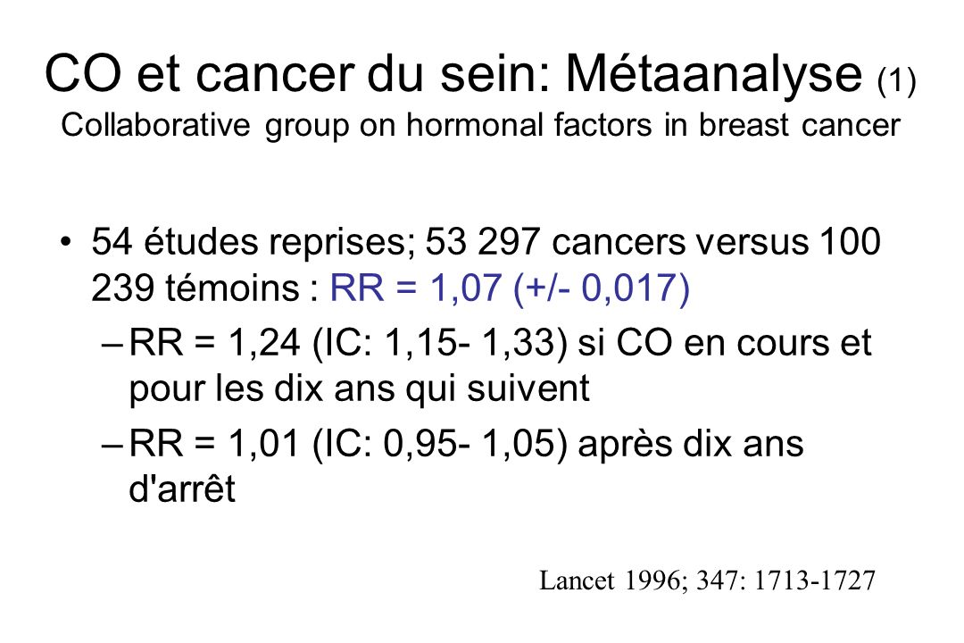 CO et cancer du sein: Métaanalyse (1) Collaborative group on hormonal factors in breast cancer