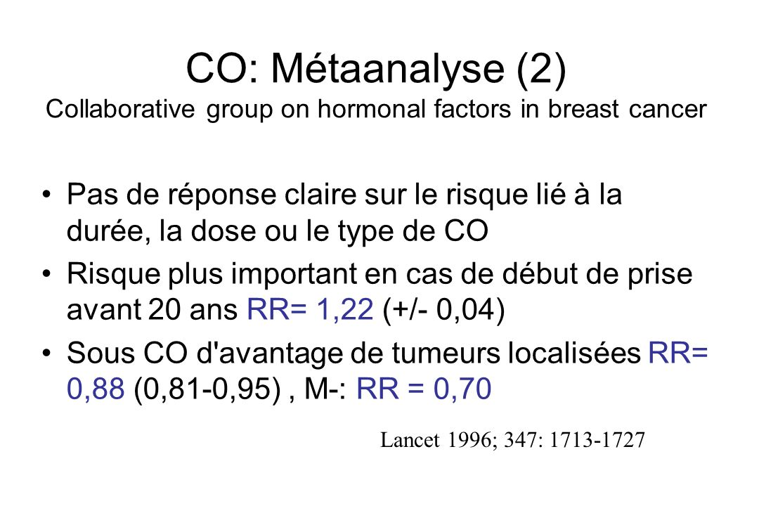 CO: Métaanalyse (2) Collaborative group on hormonal factors in breast cancer