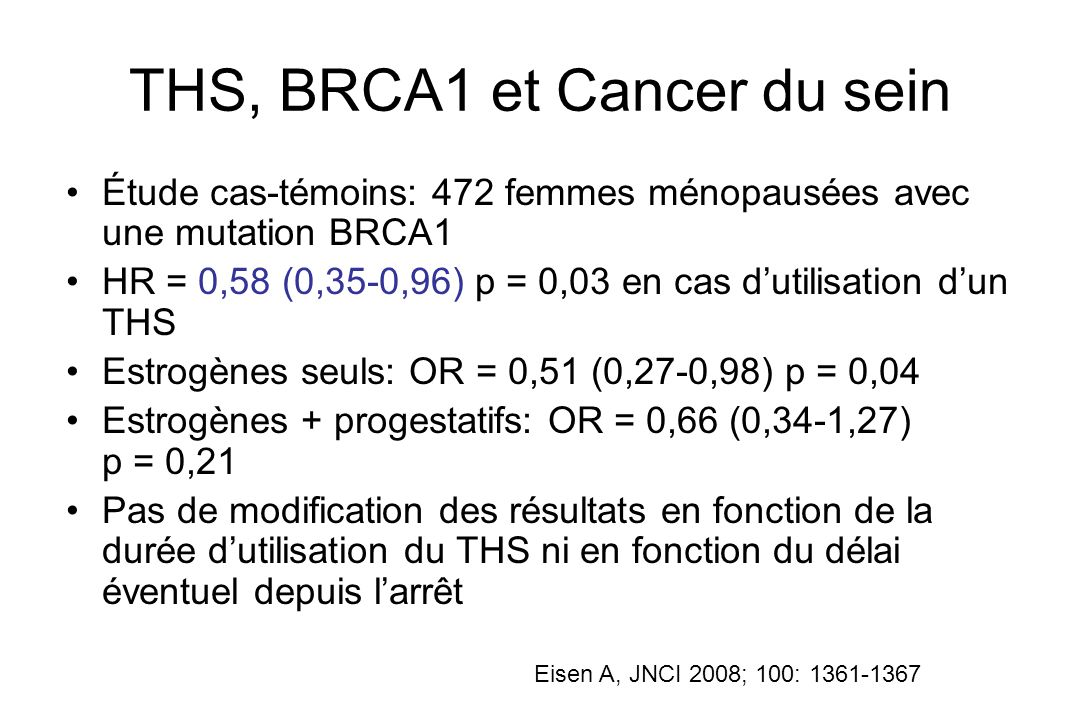 THS, BRCA1 et Cancer du sein