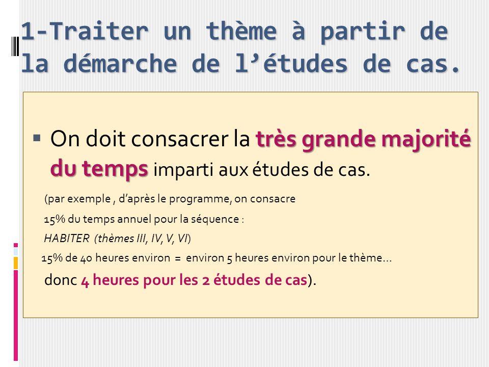 1-Traiter un thème à partir de la démarche de l'études de cas.