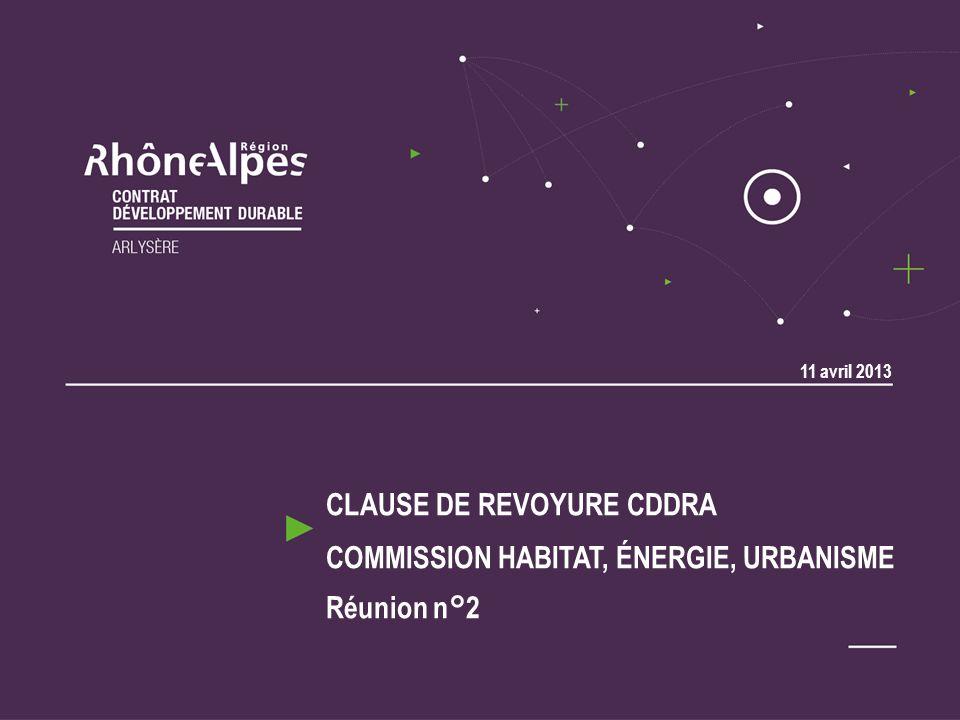 CLAUSE DE REVOYURE CDDRA COMMISSION HABITAT, ÉNERGIE, URBANISME