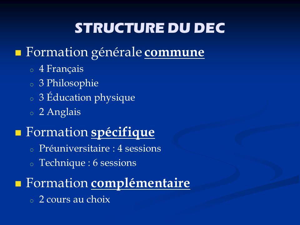 STRUCTURE DU DEC Formation générale commune Formation spécifique