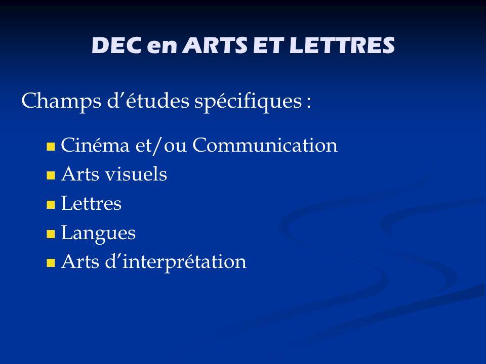 DEC en ARTS ET LETTRES Champs d'études spécifiques :