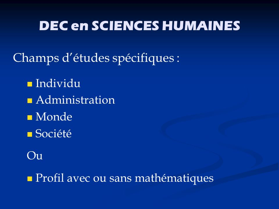 DEC en SCIENCES HUMAINES