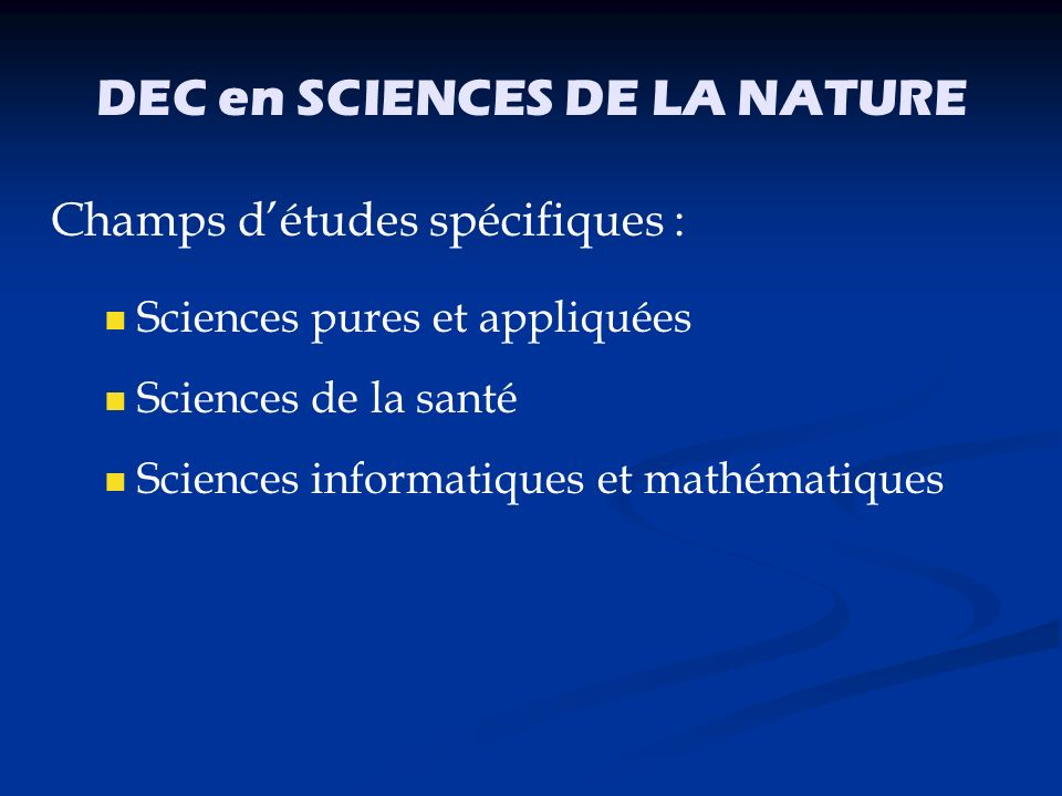 DEC en SCIENCES DE LA NATURE