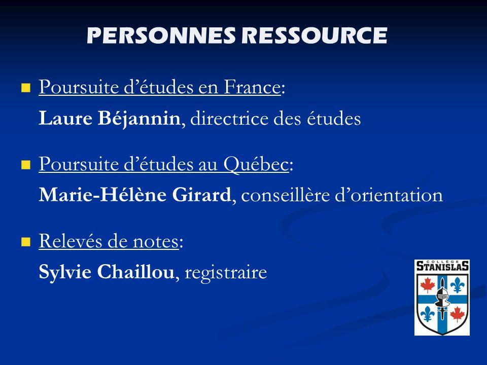 PERSONNES RESSOURCE Poursuite d'études en France: