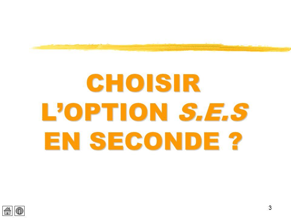 CHOISIR L'OPTION S.E.S EN SECONDE