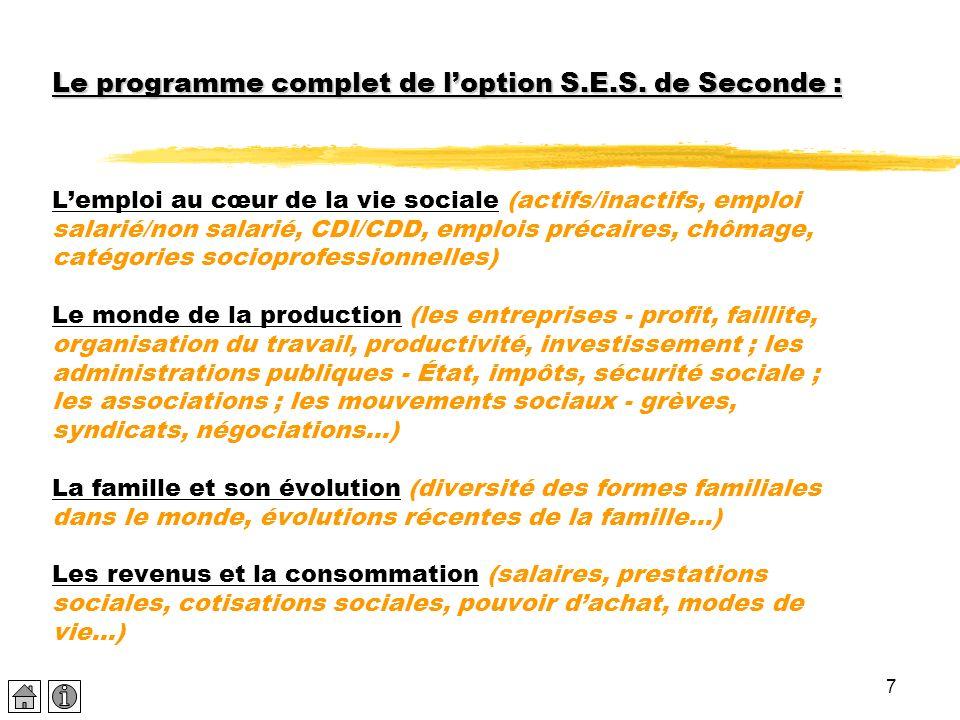 Le programme complet de l'option S. E. S
