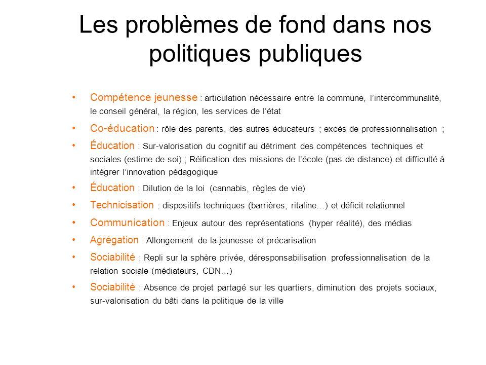 Les problèmes de fond dans nos politiques publiques