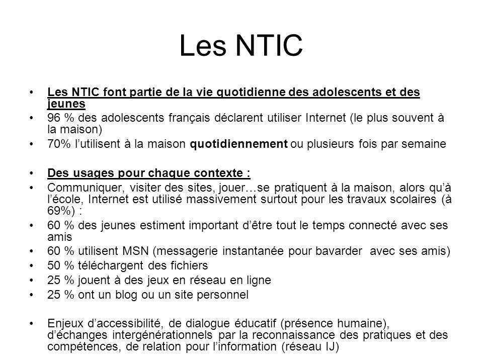 Les NTIC Les NTIC font partie de la vie quotidienne des adolescents et des jeunes.