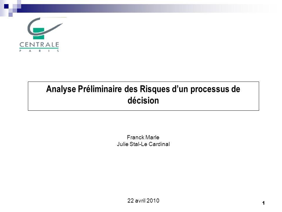 Analyse Préliminaire des Risques d'un processus de décision