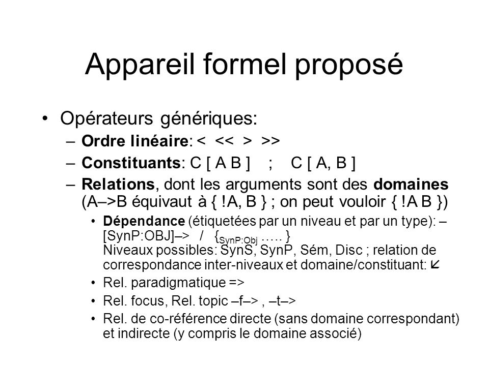 Appareil formel proposé