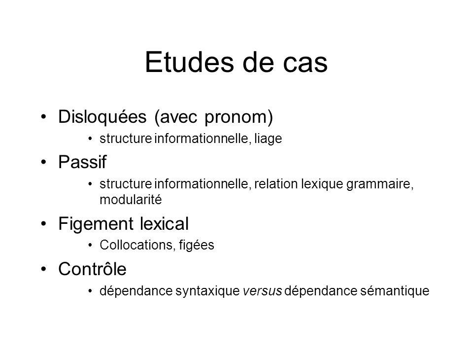 Etudes de cas Disloquées (avec pronom) Passif Figement lexical