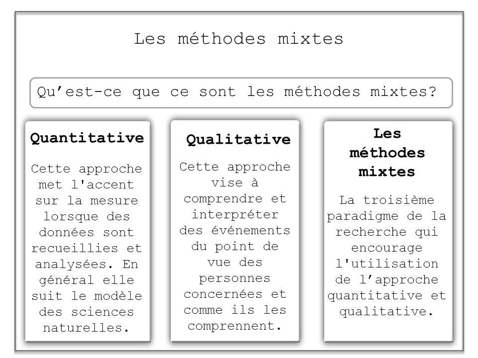 Les méthodes mixtes Qu'est-ce que ce sont les méthodes mixtes