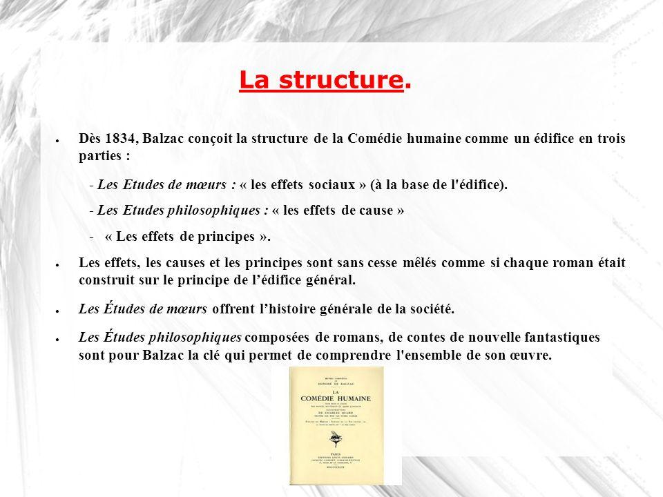 La structure. Dès 1834, Balzac conçoit la structure de la Comédie humaine comme un édifice en trois parties :