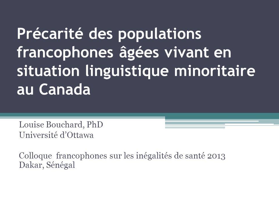 Précarité des populations francophones âgées vivant en situation linguistique minoritaire au Canada