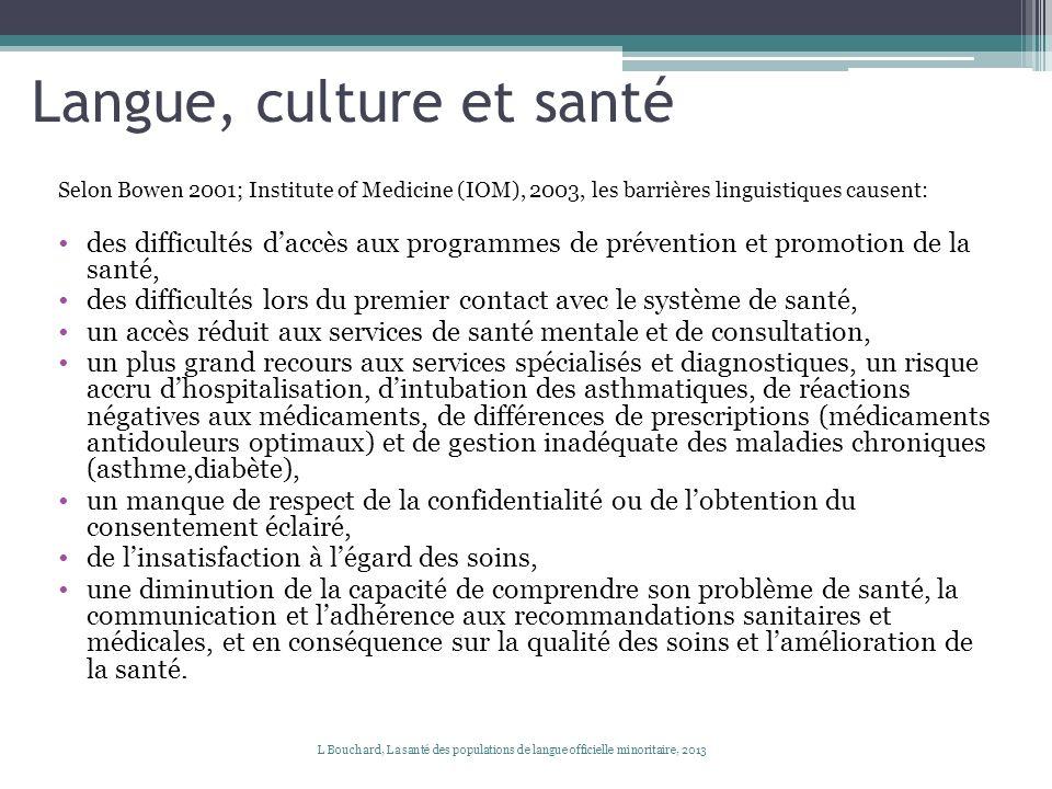 Langue, culture et santé