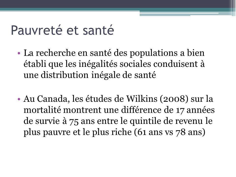 Pauvreté et santé La recherche en santé des populations a bien établi que les inégalités sociales conduisent à une distribution inégale de santé.