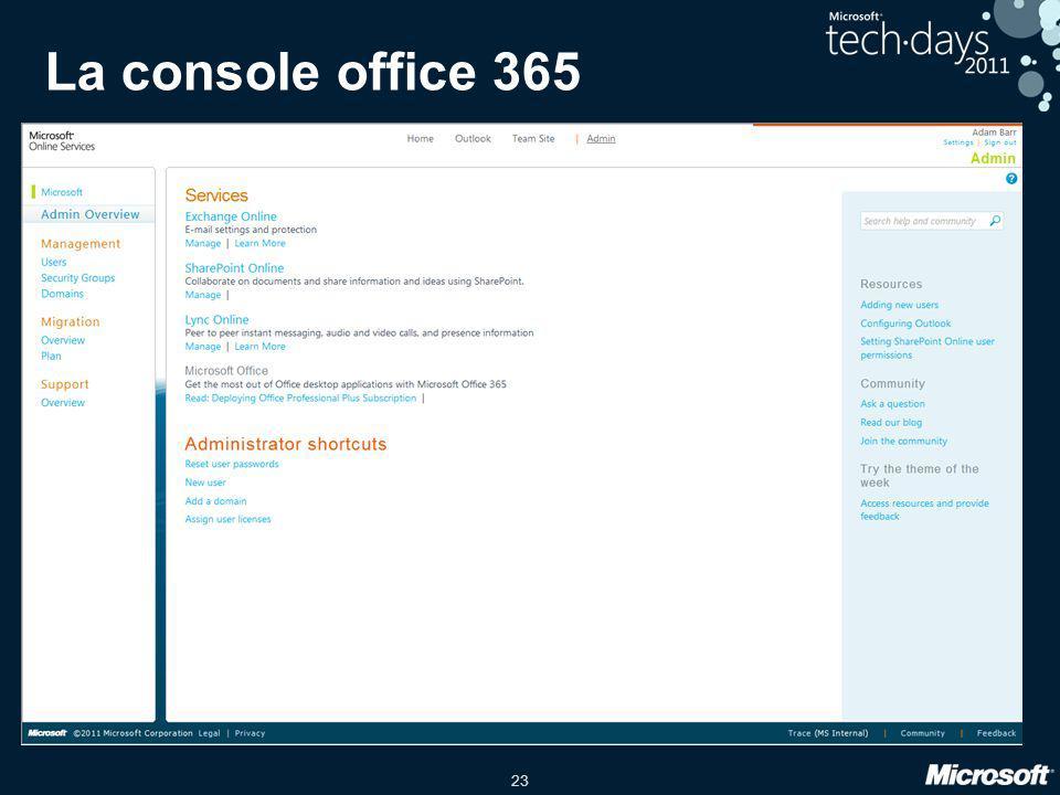 La console office 365 date