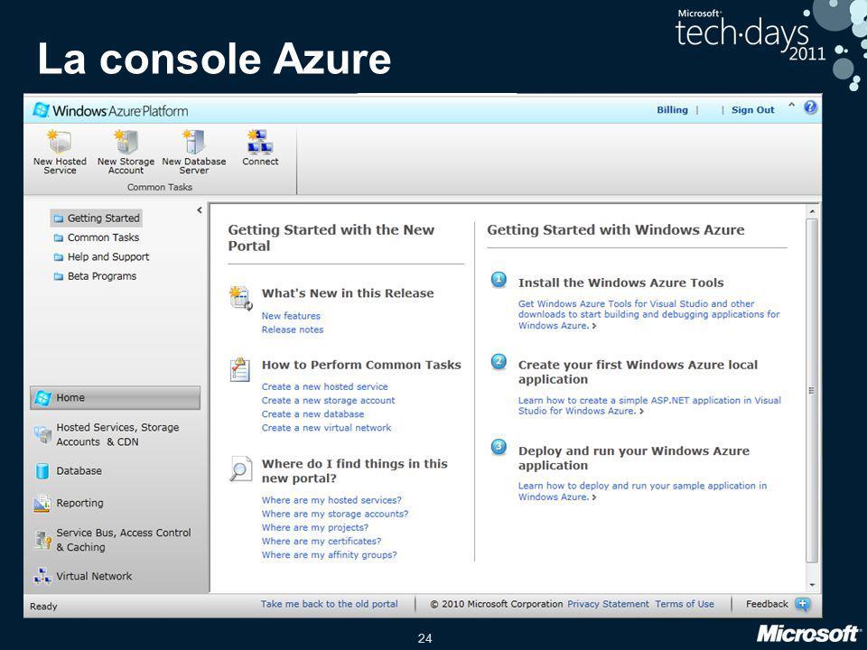 La console Azure