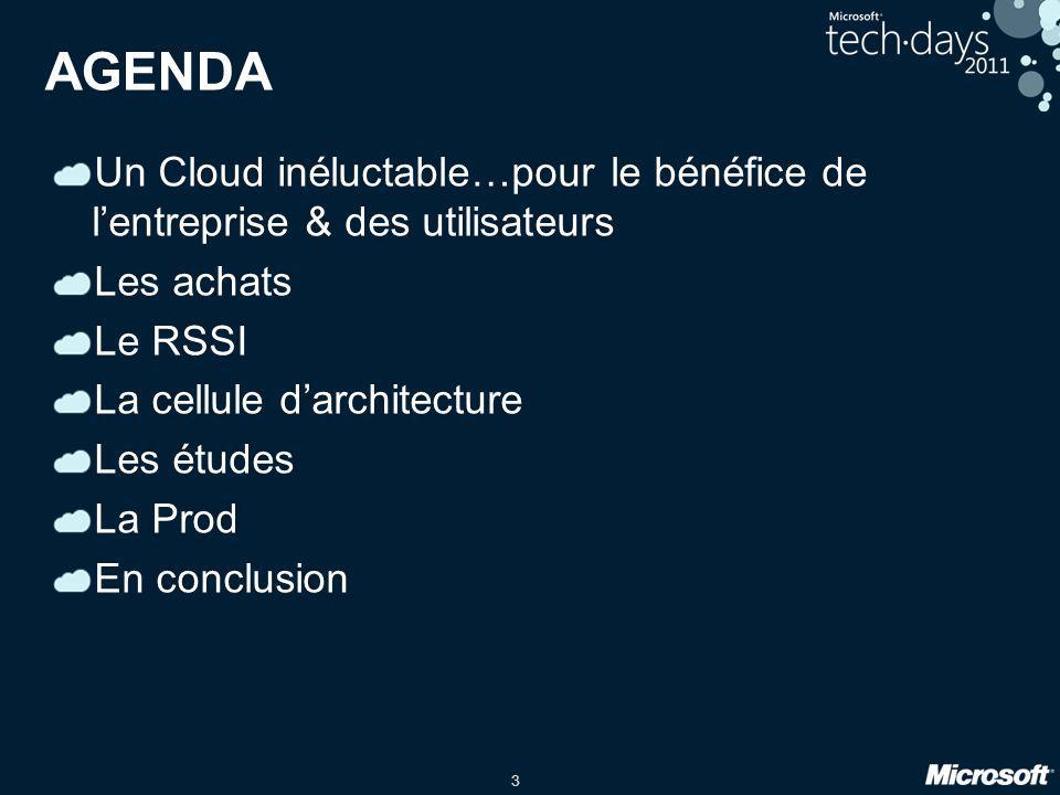 AGENDA Un Cloud inéluctable…pour le bénéfice de l'entreprise & des utilisateurs. Les achats. Le RSSI.