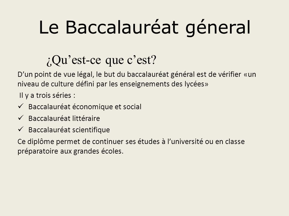 Le Baccalauréat géneral
