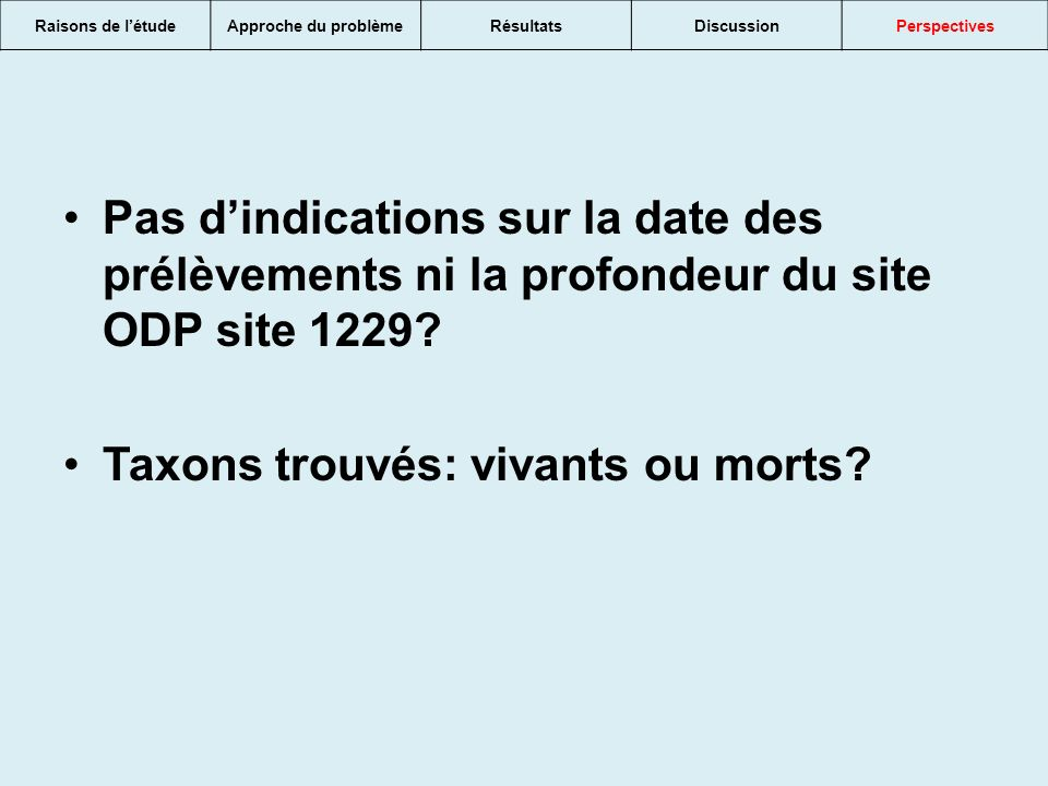 Taxons trouvés: vivants ou morts