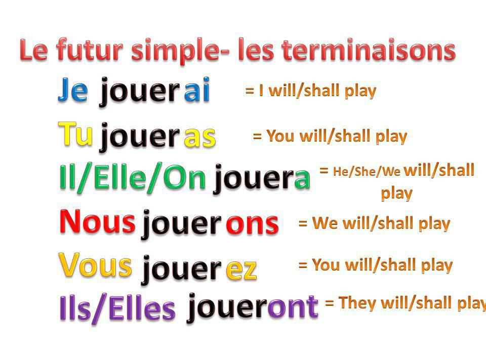 Le futur simple- les terminaisons = He/She/We will/shall play