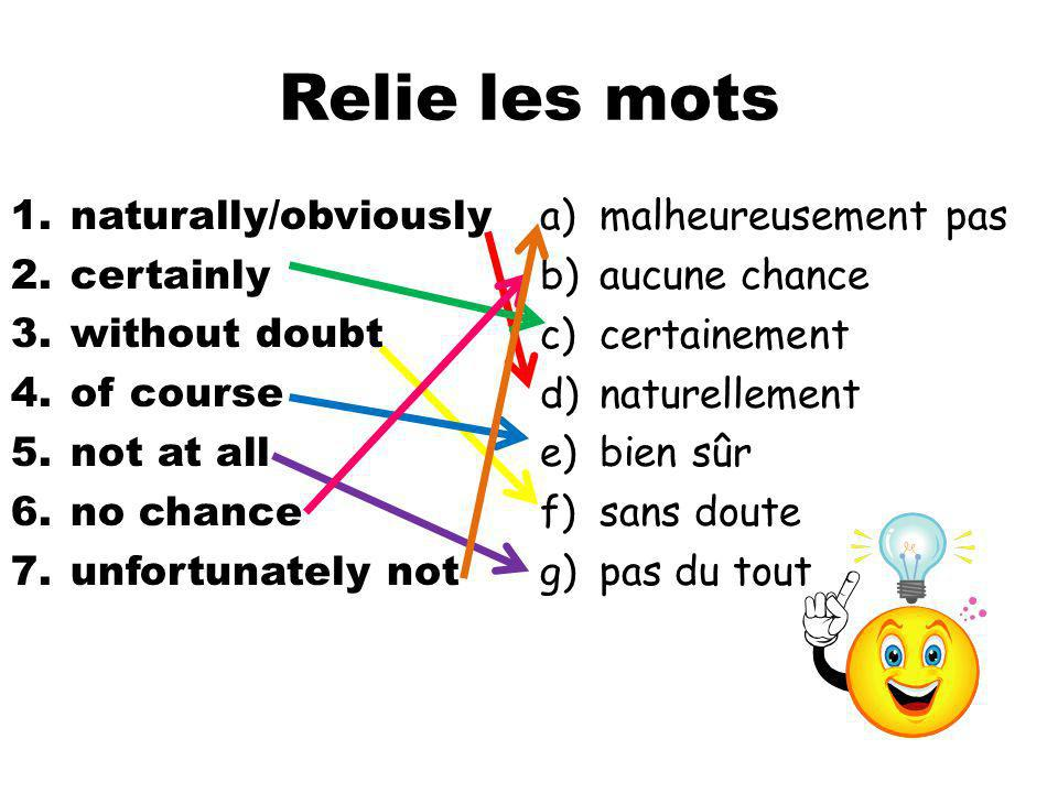 Relie les mots naturally/obviously certainly without doubt of course