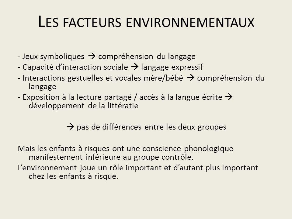 Les facteurs environnementaux